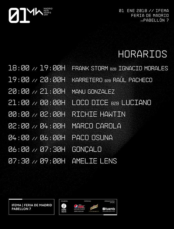 01 New Year's Day presenta los horarios oficiales para su primera edición hor01