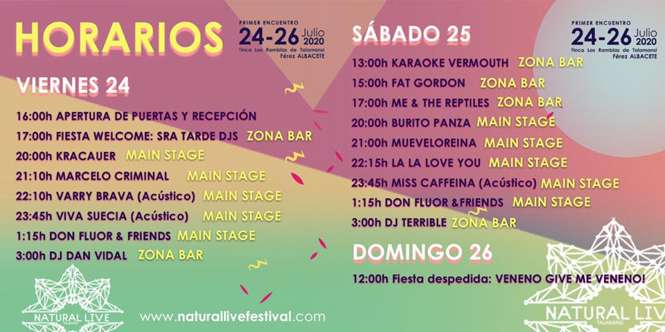 ¡Es la hora del Natural Live 2020! HORARIOS 1   EVENTO NATURAL LIVE 2020